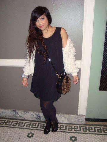 yuka i thrifted fluffy cardi gal black dress thrifted leopard pillbox purse h m