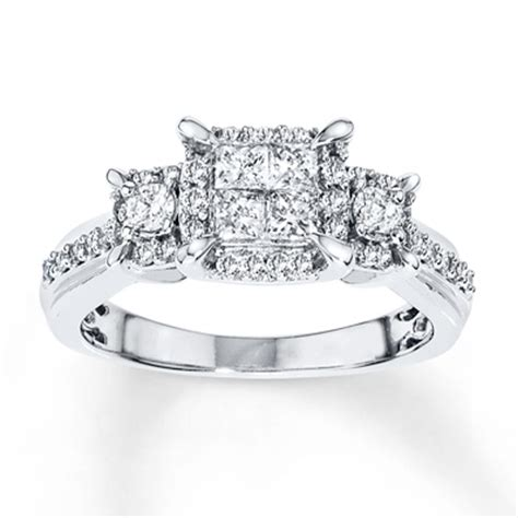 jared engagement ring 3 4 ct tw princess cut 14k