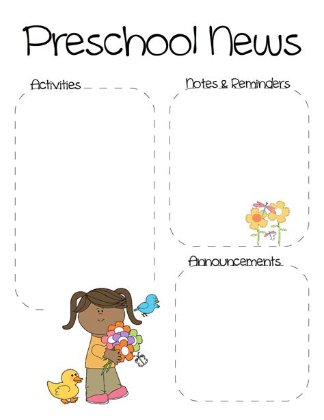 the crafty teacher spring preschool newsletter template