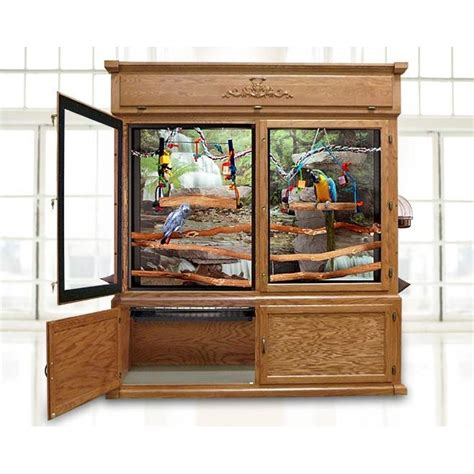 parrot furniture aviary cage with glass doors pet homes