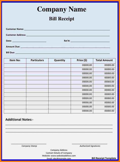 hotel food bill format  excel sample travel bill