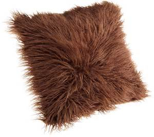 brentwood mongolian chocolate brown faux fur pillow