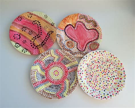 aboriginal craft for naidoc dot painting paper plate snake school