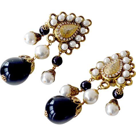 Faux Pearl Earring earrings faux pearl black bead drops sold on ruby