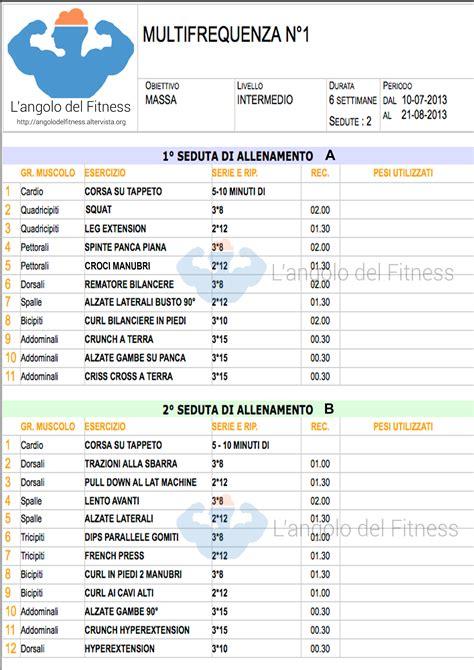 alimentazione massa e definizione scheda di allenamento massa in multifrequenza n 176 1 l