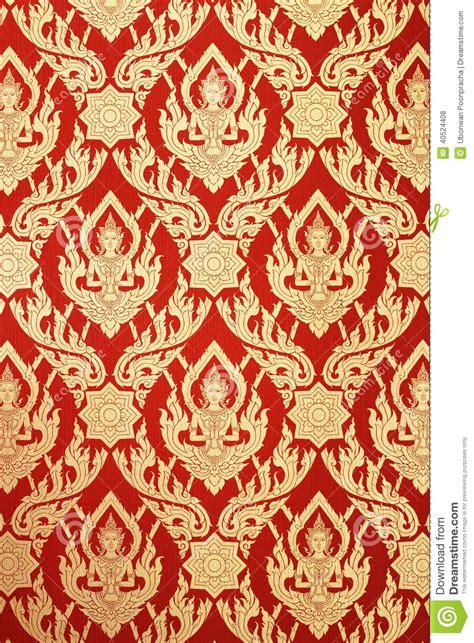 thai design thai art wall red pattern deity design stock photo