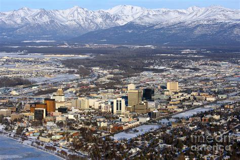 Down Duvet Cover Downtown Anchorage Photograph By Bill Cobb