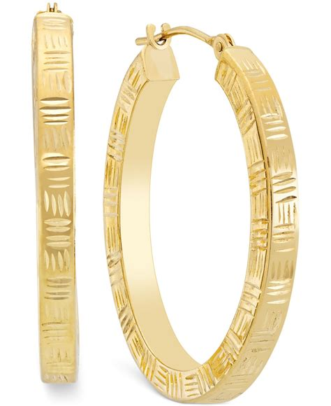 macy s etched hoop earrings in 10k gold in metallic