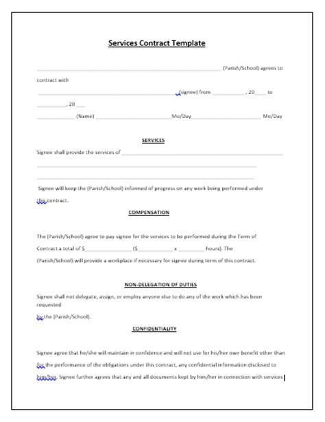 contract template for services agreement contract templates guidelines and templates for drafting