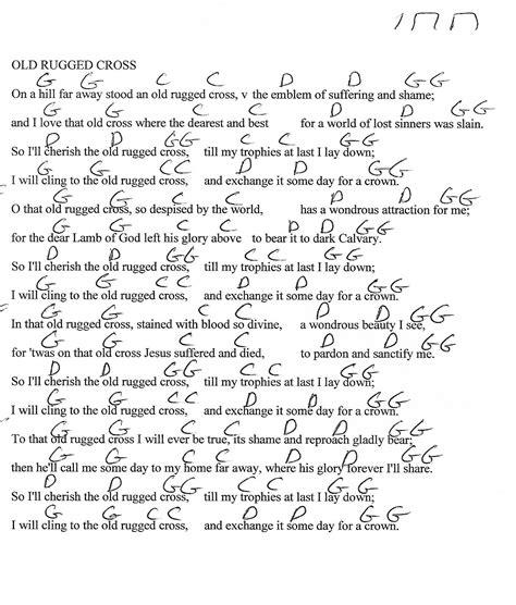 lyrics to rugged cross hymn rugged cross hymn g major guitar chord chart with lyrics http www