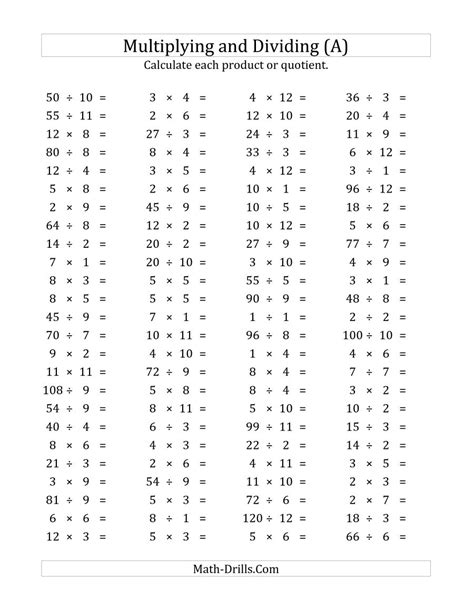 multiplication and division worksheets 100 horizontal multiplication division questions facts 1 to 12 a