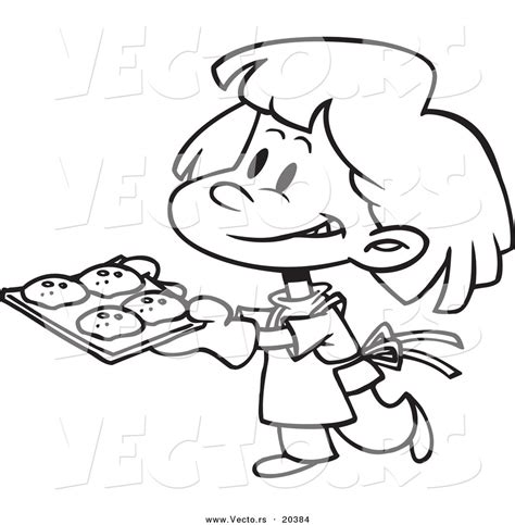 baking clipart vector of a cartoon girl baking cookies