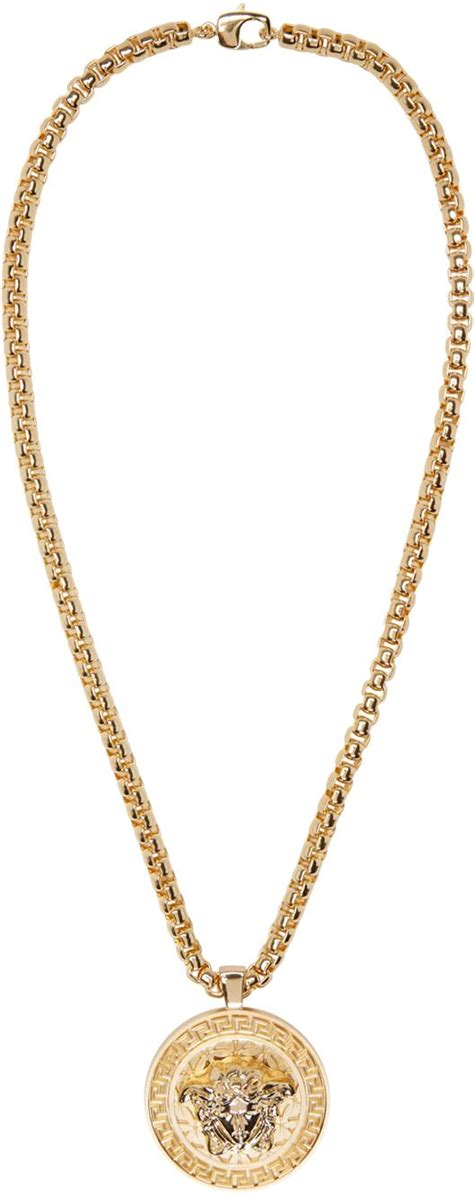 versace gold medusa chain necklace in metallic for lyst