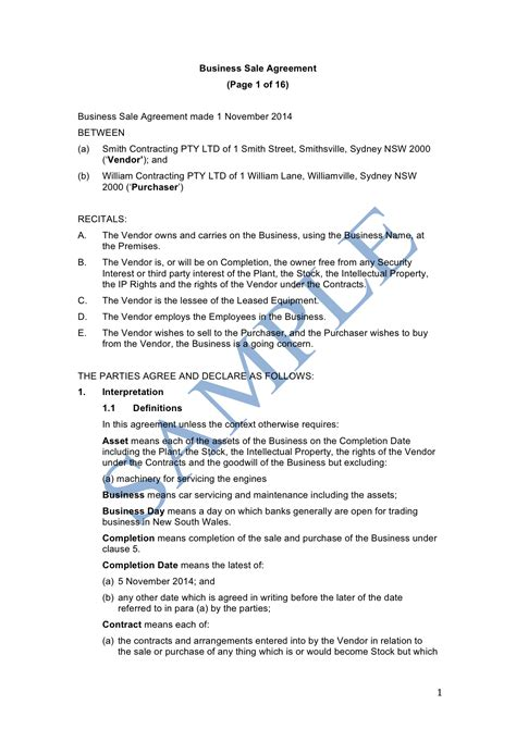 sle of business business sale agreement sle lawpath