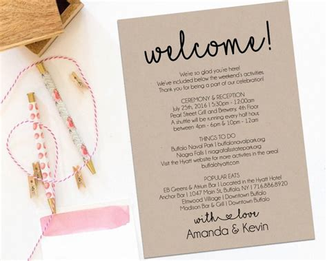 welcome bag letter template welcome letter wedding itinerary printable welcome