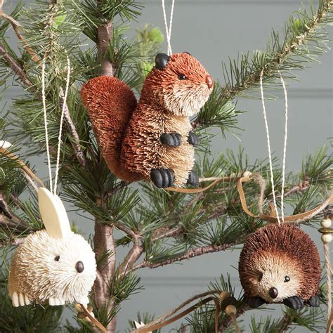 bristle woodland animal christmas decoration by the