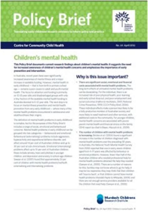 policy brief exle template policy brief out now children s mental health