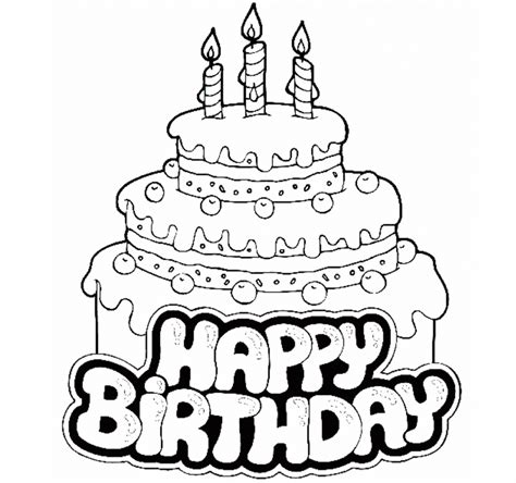 Coloring Pages Happy Birthday Cake For Kid Coloring Animated Birthday Card Drawing With Color