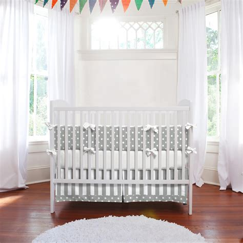 White Nursery Bedding Sets Gray And White Dots And Stripes 3 Crib Bedding Set Carousel Designs