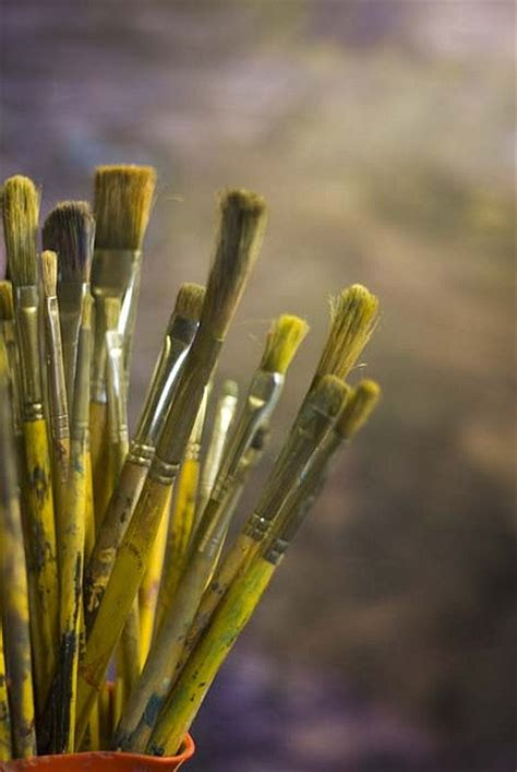 yellow paint brushes shades of yellow a well sun and look at