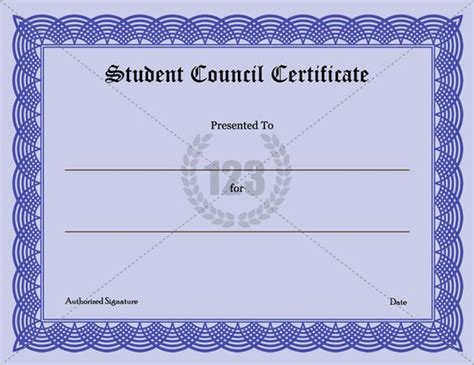 student certificate template templates student and student council on