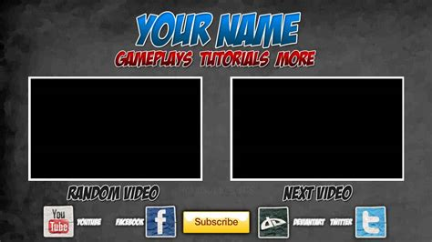 Free Outro Template 0005 2d Paint Net Photoshop Camtasia Studio 8 Youtube Outros Templates
