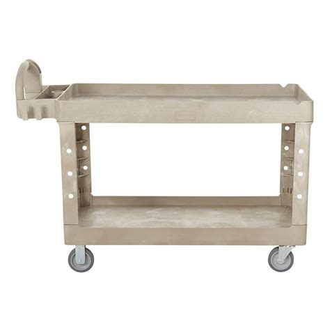 Rubbermaid Flat Shelf Utility Cart by Rubbermaid Commercial Products Heavy Duty Beige 2 Shelf
