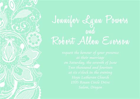 Design Home Accessories Online by Inexpensive Mint Green Printed Lace Wedding Invites Ewi333