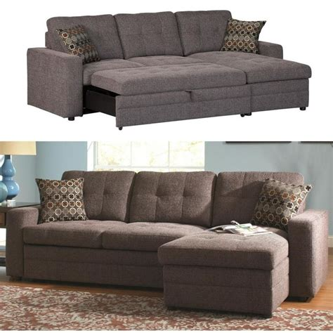 small sectional pull out coaster gus charcoal chenille upholstery small sectional