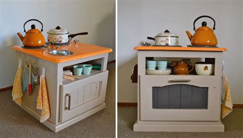 diy play kitchen for kid from old nightstand furniture diy play kitchen diy kids kitchenette nightstand