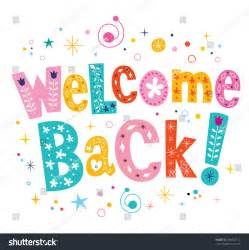 welcome back template welcome back decorative lettering text stock vector