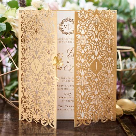 gold lace formal elegant wedding dinner menu 4x9 25 golden invitation imperial design gatefold gold pearl