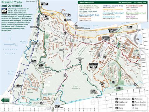 san francisco map presidio presidio trail and overlook map presidio san francisco