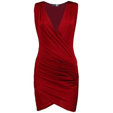 Boohoo Miyah Slinky Drape Front Bodycon Dress (120 SEK