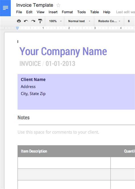 docs templates invoice free templates for word and docs cashboard