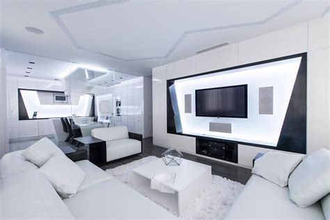 Kitchen Furniture For Small Spaces futuristic axioma apartment in black and white by