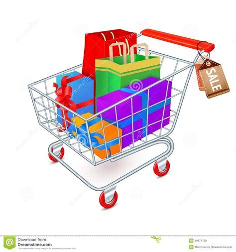 gift shopping shopping cart emblem stock vector image of present