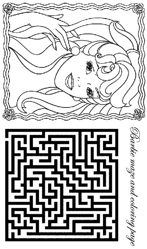 Printable Barbie Maze | barbie coloring pages barbie maze activity sheet and coloring