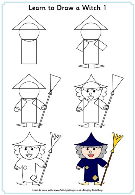 learn doodle drawing learn to draw a witch