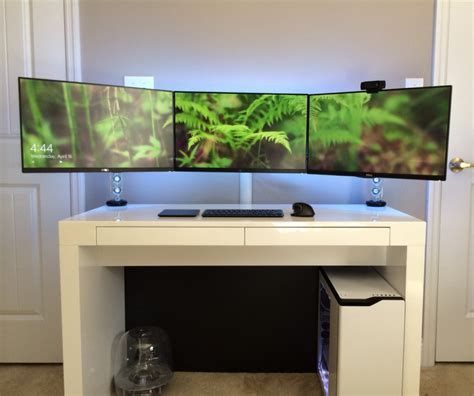 large gaming desk simple minimalist white gaming computer desk setup with