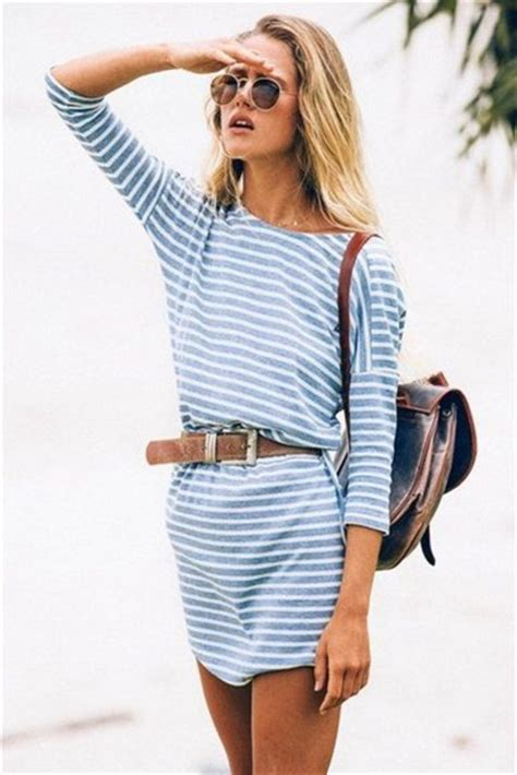 Striped Army Look Dress dress stripes 3 4 sleeves belt beachy summer
