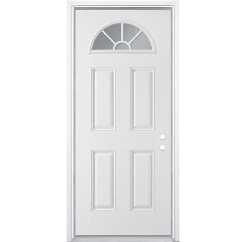 30 Exterior Door With Window Shop Masonite Left Inswing Steel Primed Entry Door Common 30 In X 78 In Actual 31 5 In