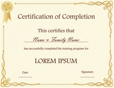 completion certificate template free certificate of completion template psds certificate
