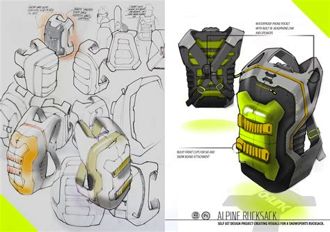 product layout concept backpack rucksack industrial design concept ideation