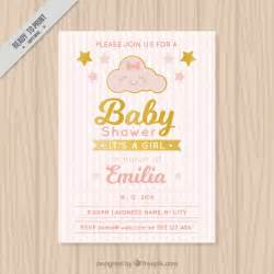 baby shower invitation with striped background vector free