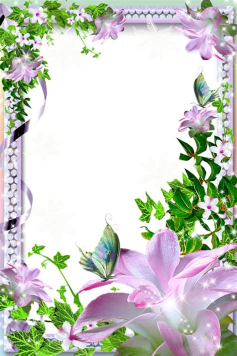 floral photo frame  pearls transparent png