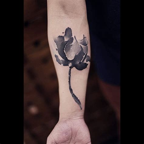 watercolor tattoo black and white flower arm best ideas gallery