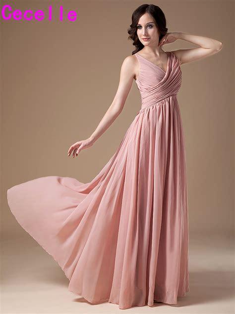 Dress Pretty Dusty Pink 2017 dusty bridesmaids dresses v neck sleeveless pleats chiffon floor length country