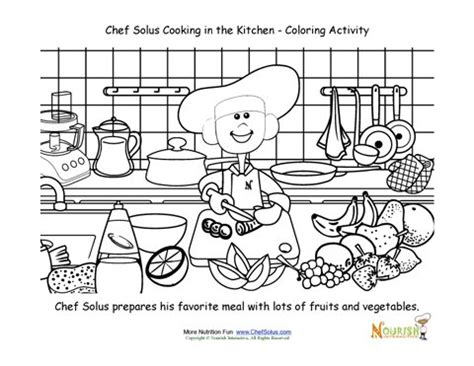 The Kitchen House Number Of Pages Cooking With Chef Solus Chopping Vegetables Coloring Page