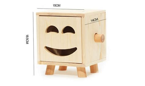wooden smiley face tissue boxnatural wood color feelgift